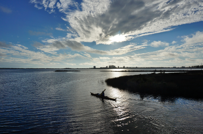 Jodi Eller paddles out of Big Lagoon State Park