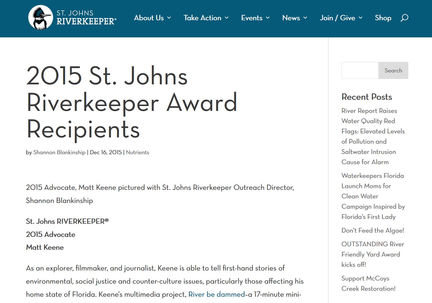 2015 St. Johns Riverkeeper Award Recipients