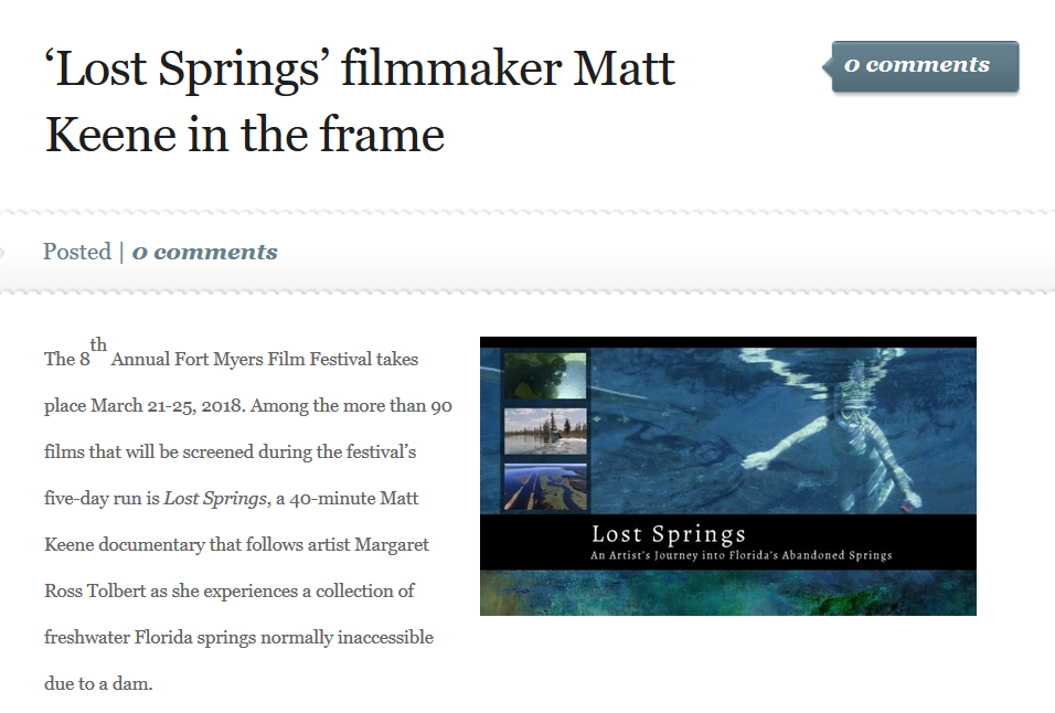 'Lost Springs' filmmaker Matt Keene in the frame