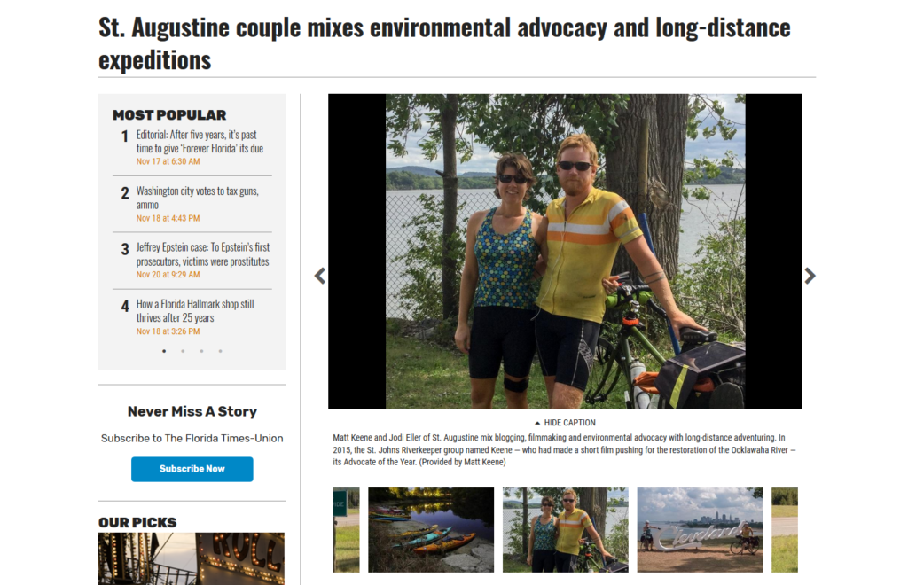 St. Augustine couple mixes environmental advocacy and long-distance expeditions